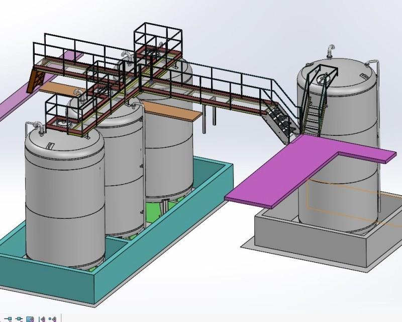 Série de 4 cuves inox 35 et 45m3 avec passerelles d'accès