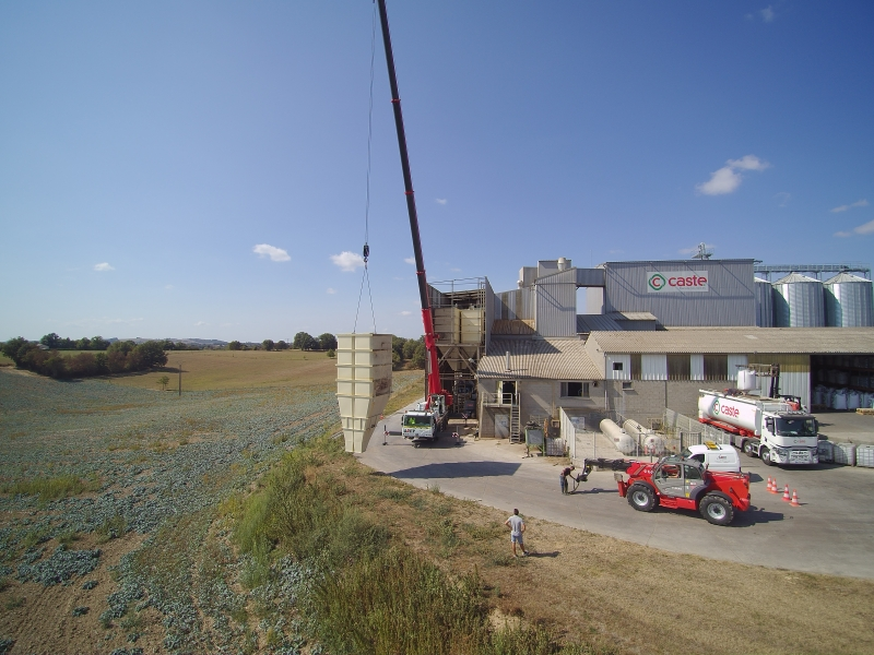 Série de silos double pour l'aliment animal